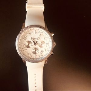 Michael Kors White & Silver Silicon Watch